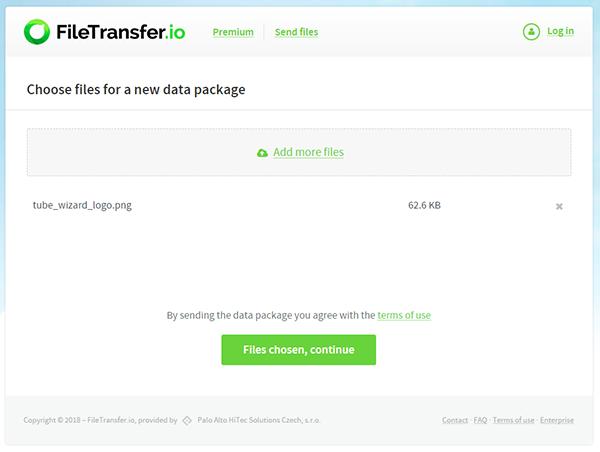FileTransfer Website - File Upload Page
