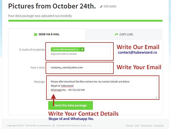 FileTransfer Website - Finish Upload Page